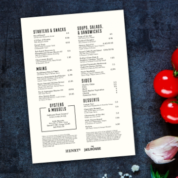 Un-laminated cafe Menu printing