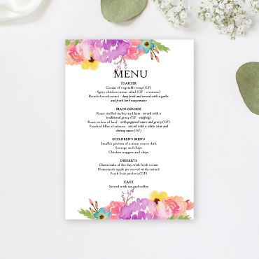 Wedding event menu printing Ireland