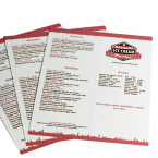 Heavy Laminate Restaurant Menu printing Ireland